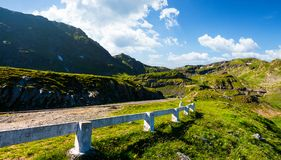 Transfagarasan road up hill to the mountain top. Beautiful transportation scenery in mountains of Romania. location southern Carpathians royalty free stock photos