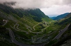 Transfagarasan road view from the cliff. Dramatic moment before the storm royalty free stock images
