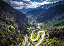 Transfagarasan Romania winding road aerial view HDR image. The best road in the world for driving and biking, as some say royalty free stock photography