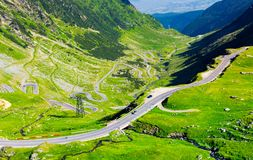 Transfagarasan route view from above. Gorgeous tourist attraction of carpathian mountains in romania stock photos