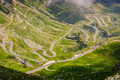 Transfagarasan route view from above. Gorgeous tourist attraction in romania carpathian mountains Royalty Free Stock Images