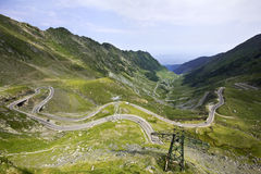 Transfagarasan wide view - road over Carpathians Royalty Free Stock Photos