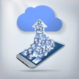 Transferência de arquivo pela rede da foto da nuvem Foto de Stock