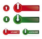 Transferência de arquivo pela rede e teclas & ícones do download Foto de Stock