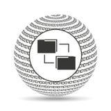 Transferência de arquivos binária do conceito do globo Imagens de Stock Royalty Free