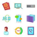 Transferência de dados aos ícones do telefone ajustou-se, estilo dos desenhos animados Imagens de Stock
