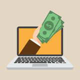 Transferência de dinheiro Mercado em linha Renda passiva Conceito de projeto do negócio Fotos de Stock
