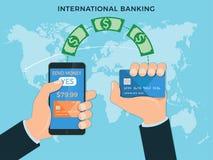 Transferência de dinheiro, operação bancária internacional Imagem de Stock