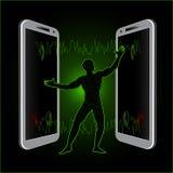 Transferência de informação por meio do telefone Imagem de Stock Royalty Free