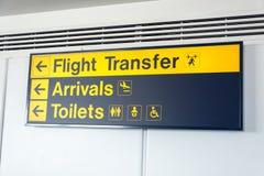 Transferência do voo, as chegadas e os toaletes pretos e amarelos assinam fotografia de stock