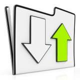 Transferência e ícone dos arquivos da transferência de arquivo pela rede Fotografia de Stock