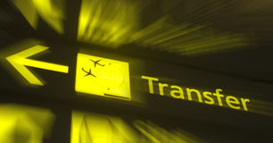 Transfer. Signboard in an airport stock photo