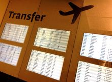 Transfer board at the airport Stock Images
