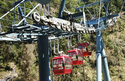 With the transfer of the cable car. Slowly rising operation of the cable car with a rope and with lower power wheels and gears Royalty Free Stock Photos