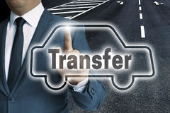 Transfer car touchscreen is operated by man concept Royalty Free Stock Photo