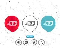 Transfer Cash money line icon. Banking. Speech bubbles with symbol. Transfer Cash money line icon. Banking currency sign. Dollar or USD symbol. Bonus with Stock Photography