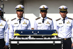 The transfer ceremony of Diesel-electric locomotive to State Railway of Thailand Stock Photo