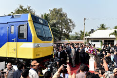 The transfer ceremony of Diesel-electric locomotive to State Railway of Thailand Stock Image