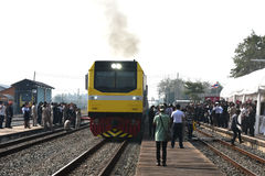 The transfer ceremony of Diesel-electric locomotive to State Railway of Thailand Stock Photos
