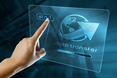 Transfer data on a digital screen Stock Photography