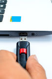 Transfer Data Using Flash Drive Royalty Free Stock Photo