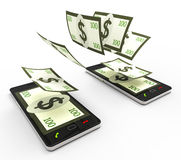 Transfer Dollars Online Indicates World Wide Web And Phone Royalty Free Stock Photo