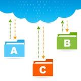 Transfer files cloud presentation vector illustration
