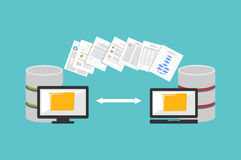 Transfer files. Sharing files. Backup files. Migration concept Royalty Free Stock Photo