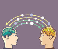 Transfer of information between minds. File eps Royalty Free Stock Photography