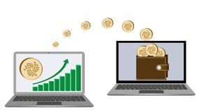 Transfer iota coins from laptop in the wallet. In another laptop on a white background,growth diagram with coin of iota on a laptop screen, crypto currency in Stock Image