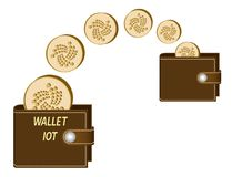 Transfer iota coins from one wallet to another. On a white background , transaction crypto currency in the wallet Stock Photos