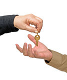 Transfer of key. Between man and woman stock image