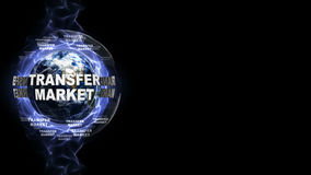 TRANSFER MARKET Text and Earth, Rendering, Graphics Background Royalty Free Stock Photo