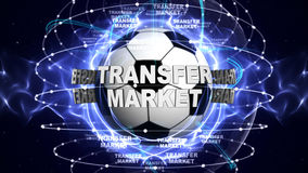 TRANSFER MARKET Text and Soccer Ball, Rendering, Graphics Background Royalty Free Stock Image