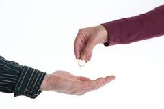 Transfer of money. Transfer of Euro-cash, close up Royalty Free Stock Photos