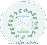 Transfer money concept in line art style. Transfer money trendy concept with hourglass in line art style. Banking and finance, ecommerce service sign, business Royalty Free Stock Image