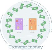 Transfer money concept in line art style. Transfer money trendy concept in line art style. Banking and finance, ecommerce service sign, business technology Royalty Free Stock Photography
