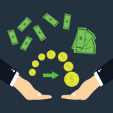 The transfer of money.Hands transferring money.  Stock Images