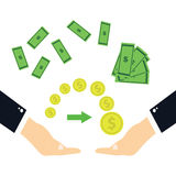The transfer of money.Hands transferring money.  Royalty Free Stock Image