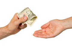 Transfer of money between man and woman Royalty Free Stock Images