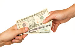 Transfer of money between man and woman Royalty Free Stock Photo