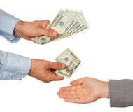 Transfer of money between man and woman Stock Photo