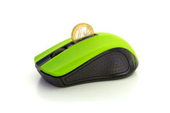 TRANSFER MONEY ONLINE 1. A mouse with a slot for coins that allows transferring real money online Royalty Free Stock Photos