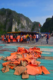 Transfer Point from Junk Ship to Small Rowing Bamboo Boat in Halong Bay for Day Trip Stock Photo