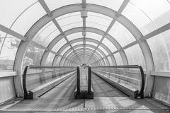 Transfer tunnel for passengers in Bucharest train terminal. In black an white Stock Images