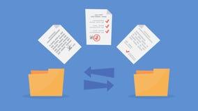 Transferencia de archivos entre las carpetas Ficheros de la copia, datos de intercambio ilustración del vector
