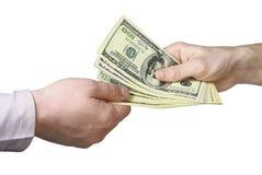 Transferencia del dinero Fotografía de archivo libre de regalías
