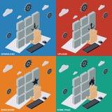 Transferencia directa, carga por teletratamiento, señales, ejemplos del Home Page stock de ilustración