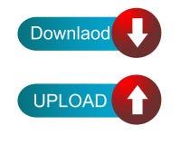 Transferencia directa y botón del rojo y del skyblue de la carga por teletratamiento Imagen de archivo
