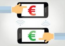 Transferencia monetaria con el ejemplo del concepto del teléfono móvil Fotografía de archivo